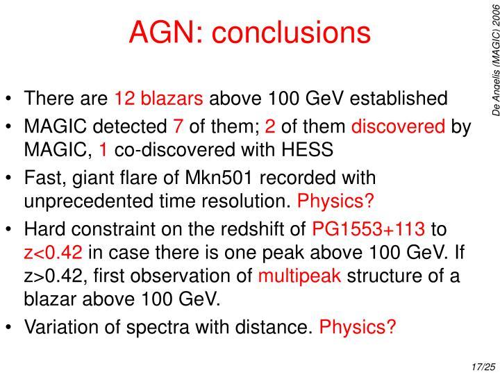 AGN: conclusions