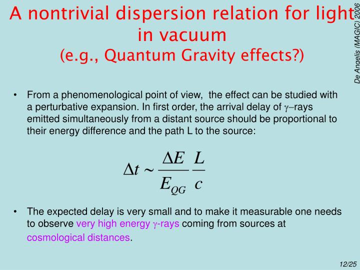 A nontrivial dispersion relation for light in vacuum