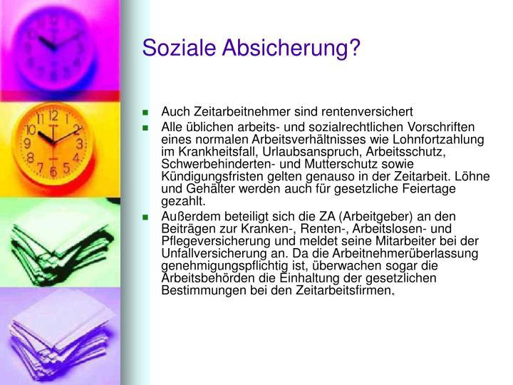 Soziale Absicherung?