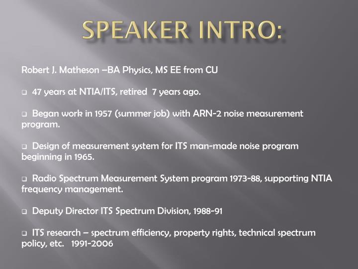 Speaker Intro: