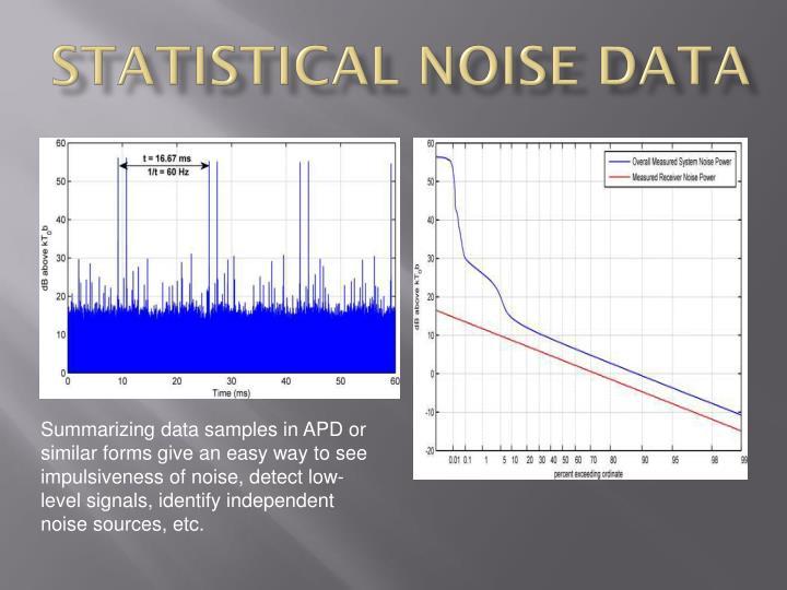 Statistical noise data