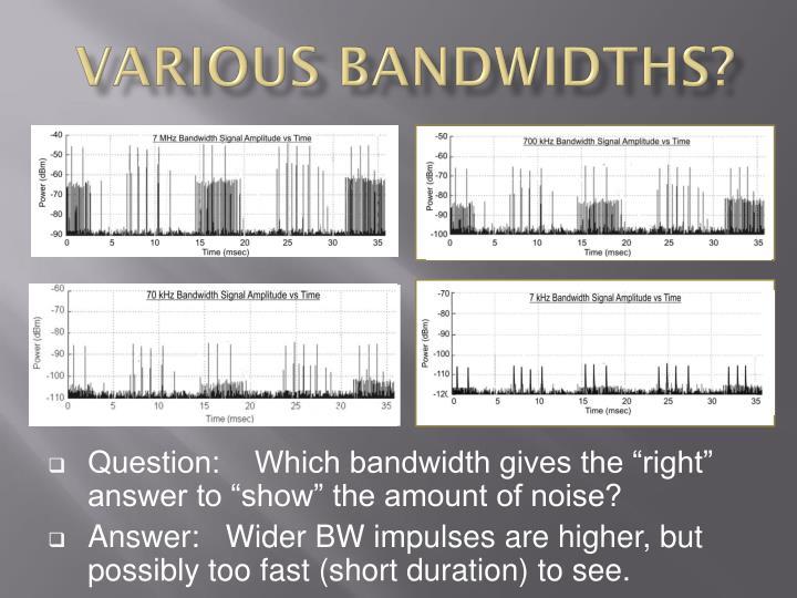 Various Bandwidths?