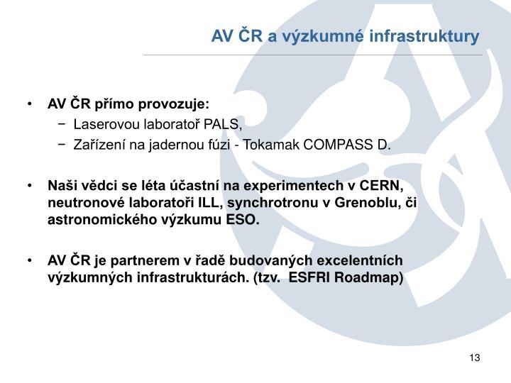 AV ČR a výzkumné infrastruktury