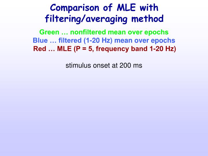 Comparison of MLE with filtering/averaging method