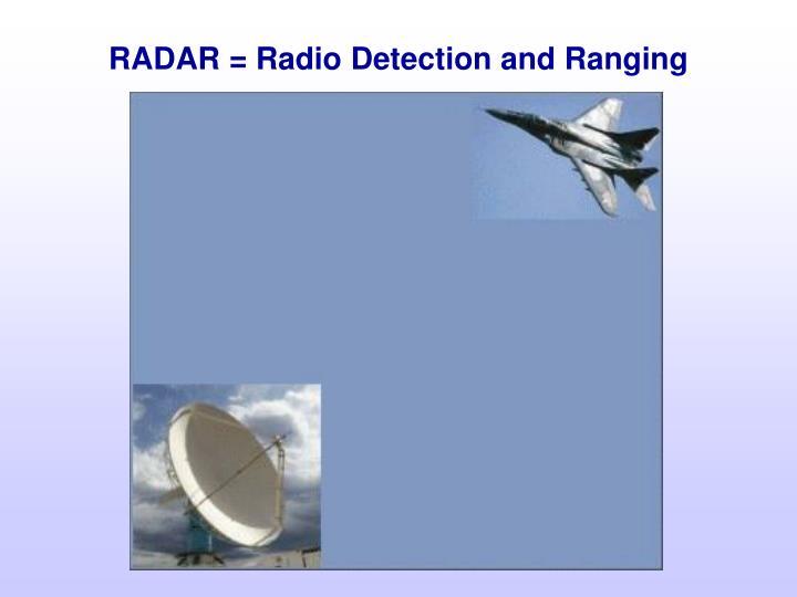 RADAR = Radio Detection and Ranging