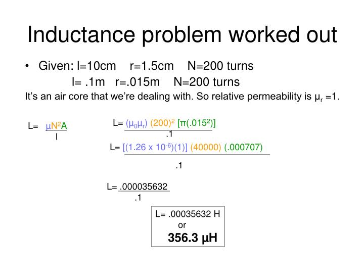 Inductance problem worked out