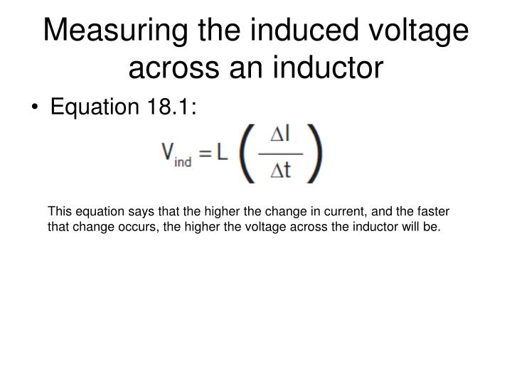 Measuring the induced voltage across an inductor