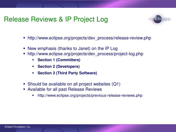 Release Reviews & IP Project Log