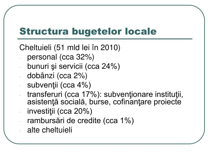 Structura bugetelor locale