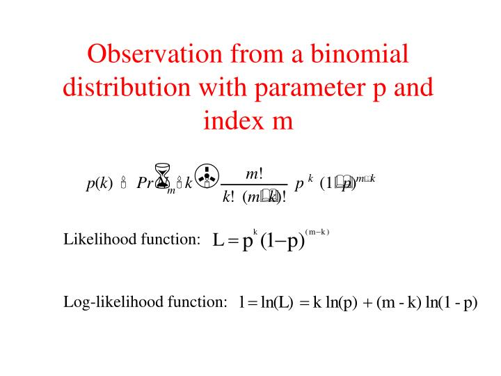 Observation from a binomial distribution with parameter p and index m