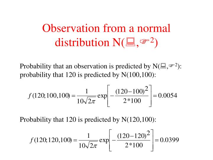 Observation from a normal distribution N(