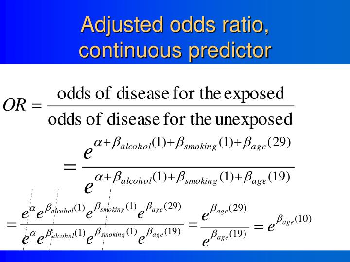 Adjusted odds ratio, continuous predictor