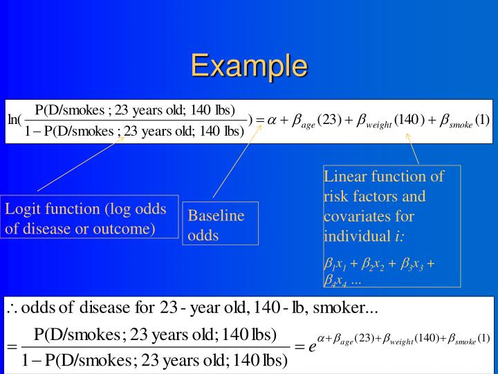 Linear function of risk factors and covariates for individual