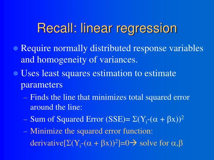 Recall: linear regression