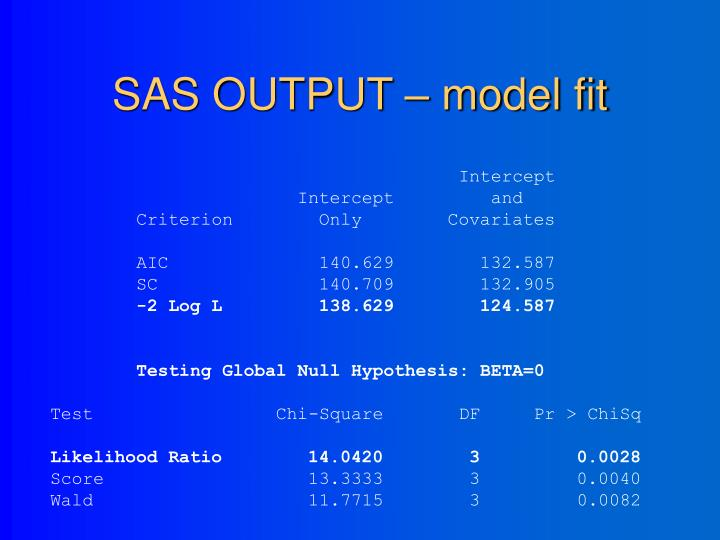 SAS OUTPUT – model fit