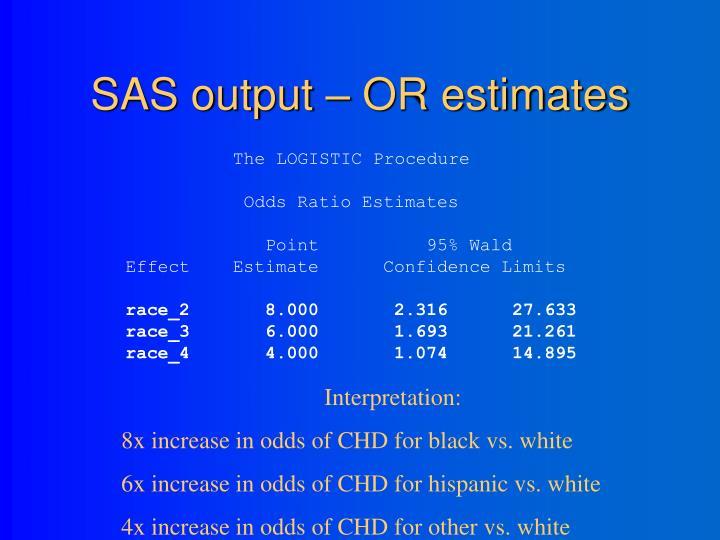 SAS output – OR estimates