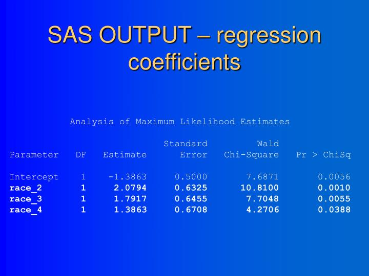 SAS OUTPUT – regression coefficients