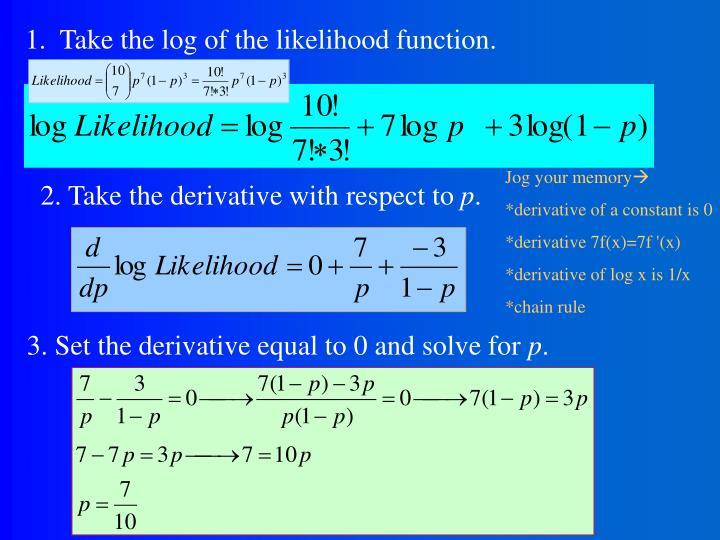 1.  Take the log of the likelihood function.