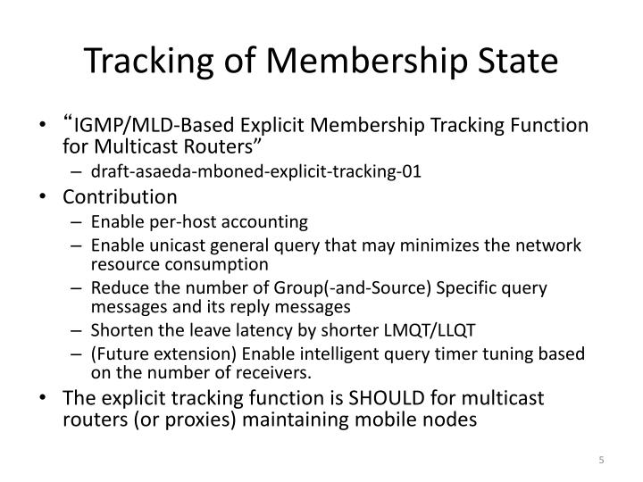 Tracking of Membership State