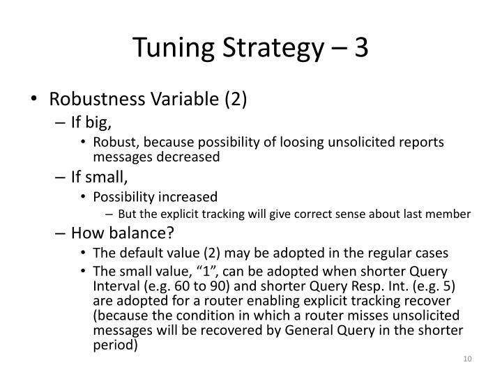 Tuning Strategy – 3