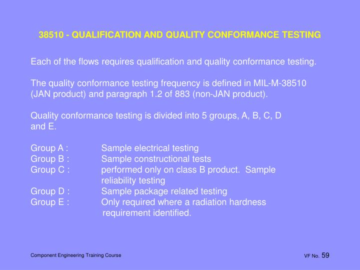 38510 - QUALIFICATION AND QUALITY CONFORMANCE TESTING