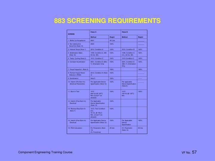 883 SCREENING REQUIREMENTS