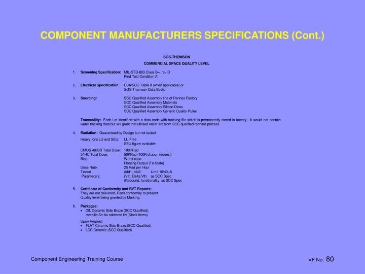 COMPONENT MANUFACTURERS SPECIFICATIONS (Cont.)