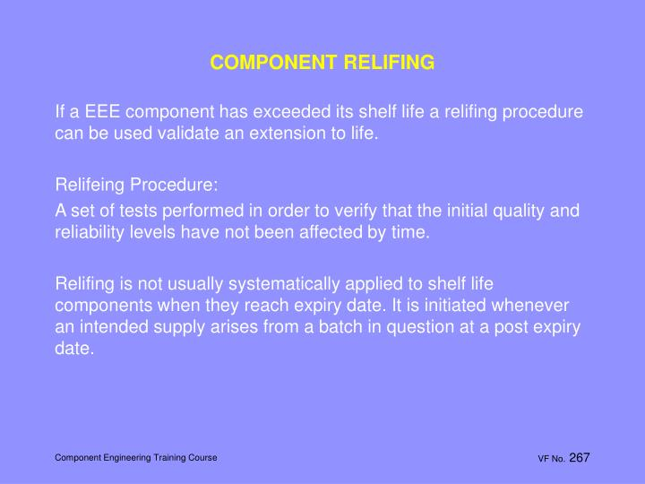 COMPONENT RELIFING
