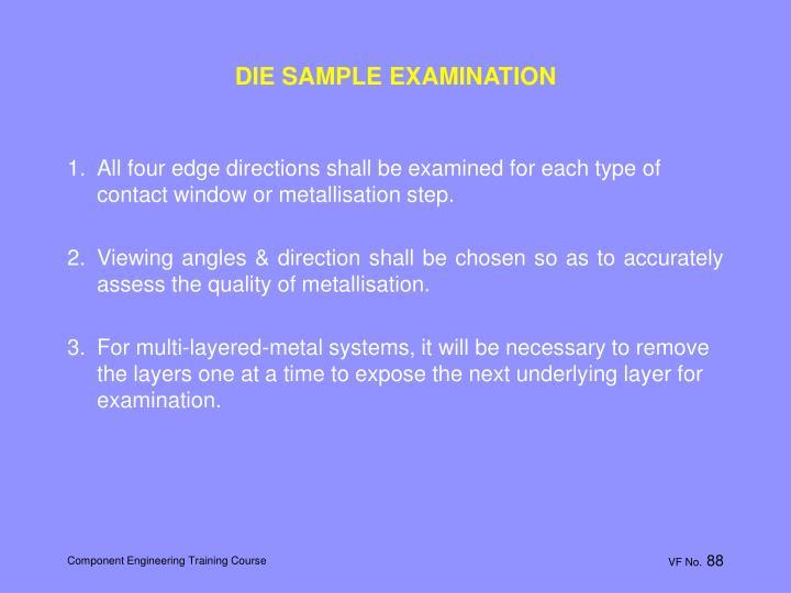 DIE SAMPLE EXAMINATION