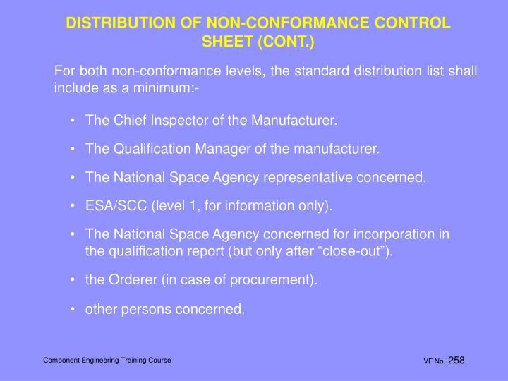DISTRIBUTION OF NON-CONFORMANCE CONTROL SHEET (CONT.)