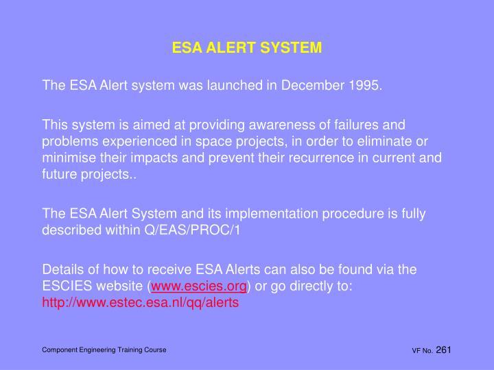 ESA ALERT SYSTEM