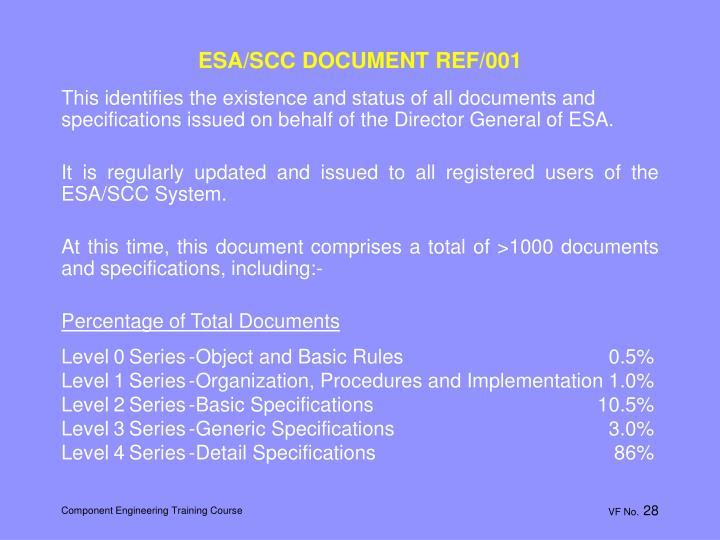 ESA/SCC DOCUMENT REF/001