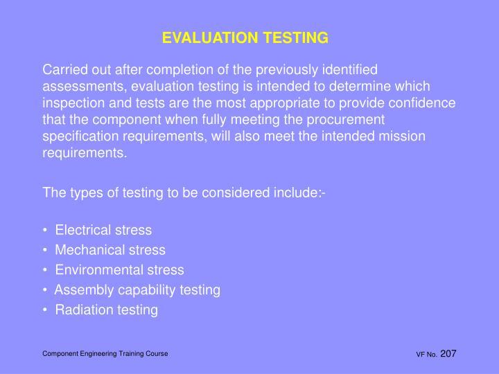 EVALUATION TESTING