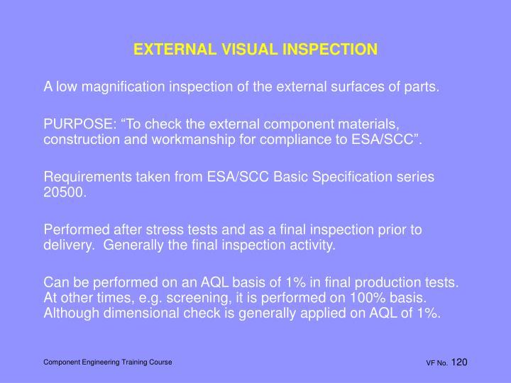EXTERNAL VISUAL INSPECTION
