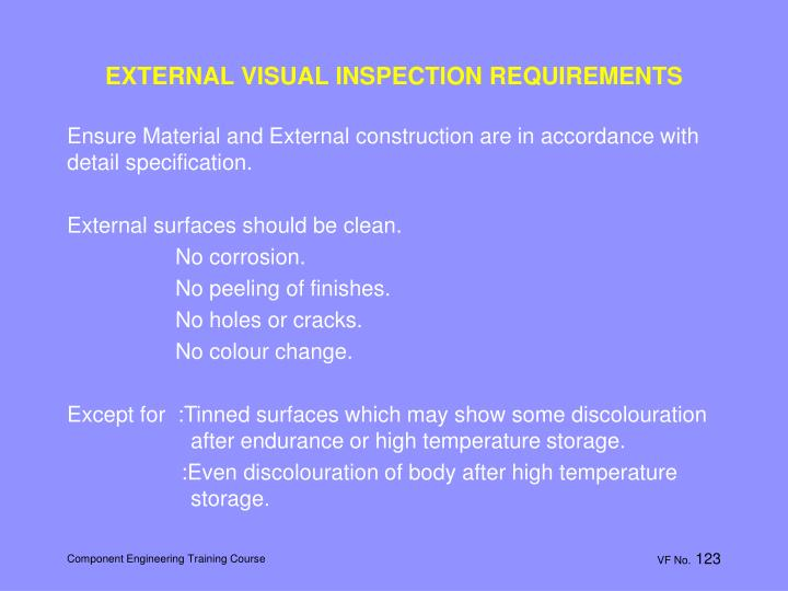 EXTERNAL VISUAL INSPECTION REQUIREMENTS