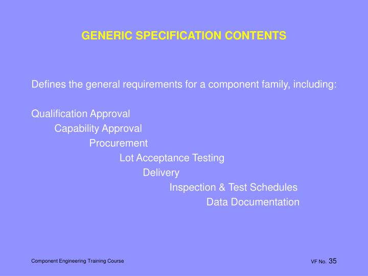 GENERIC SPECIFICATION CONTENTS