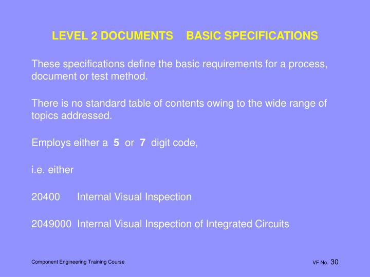 LEVEL 2 DOCUMENTS    BASIC SPECIFICATIONS