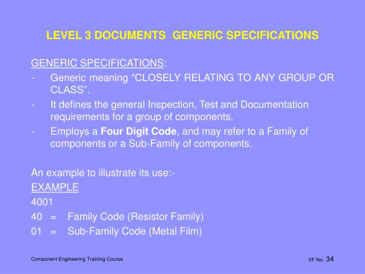LEVEL 3 DOCUMENTS  GENERIC SPECIFICATIONS