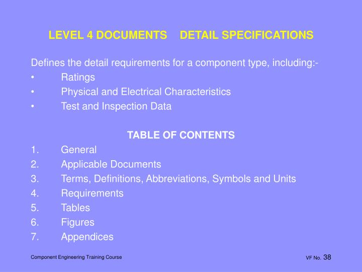 LEVEL 4 DOCUMENTS    DETAIL SPECIFICATIONS