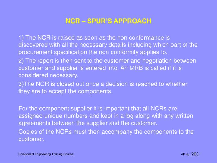 NCR – SPUR'S APPROACH