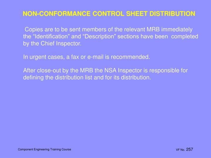 NON-CONFORMANCE CONTROL SHEET DISTRIBUTION