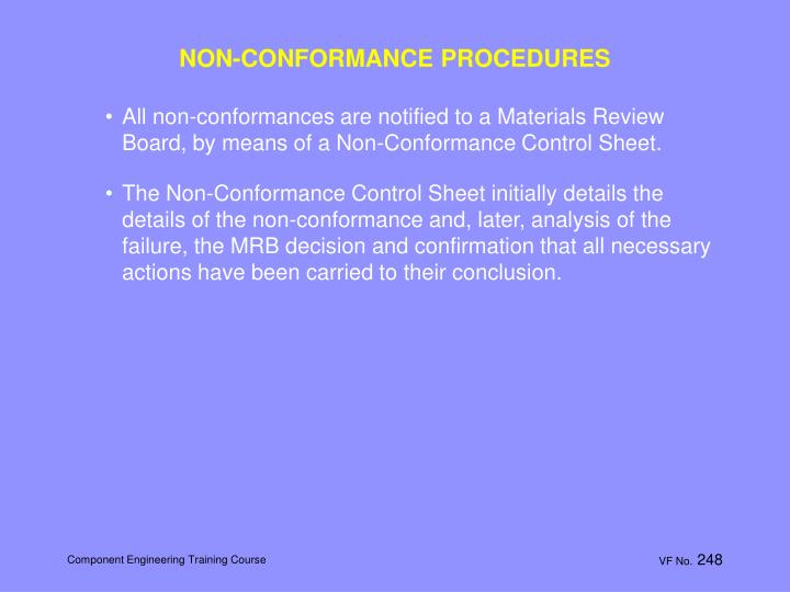 NON-CONFORMANCE PROCEDURES