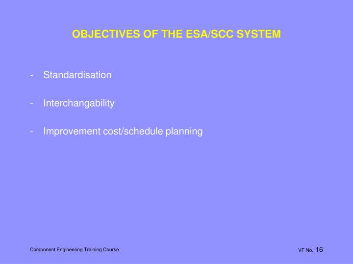 OBJECTIVES OF THE ESA/SCC SYSTEM