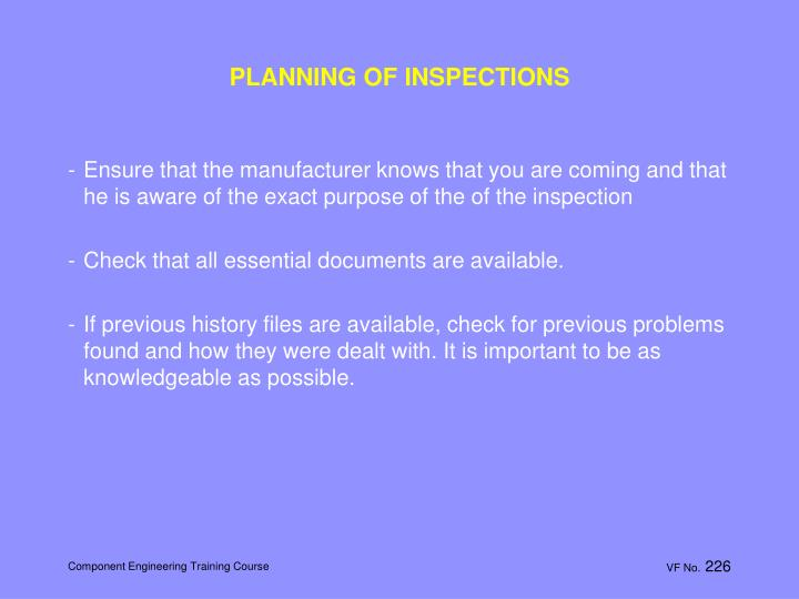 PLANNING OF INSPECTIONS