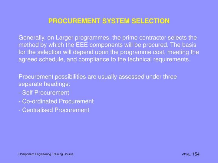 PROCUREMENT SYSTEM SELECTION