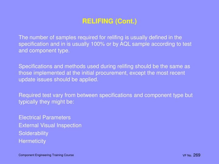 RELIFING (Cont.)