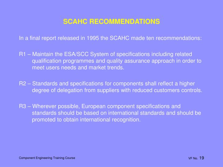 SCAHC RECOMMENDATIONS