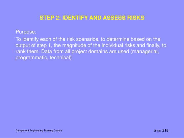 STEP 2: IDENTIFY AND ASSESS RISKS