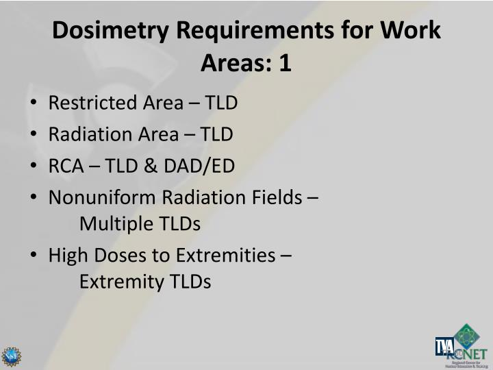 Dosimetry Requirements for Work Areas: 1