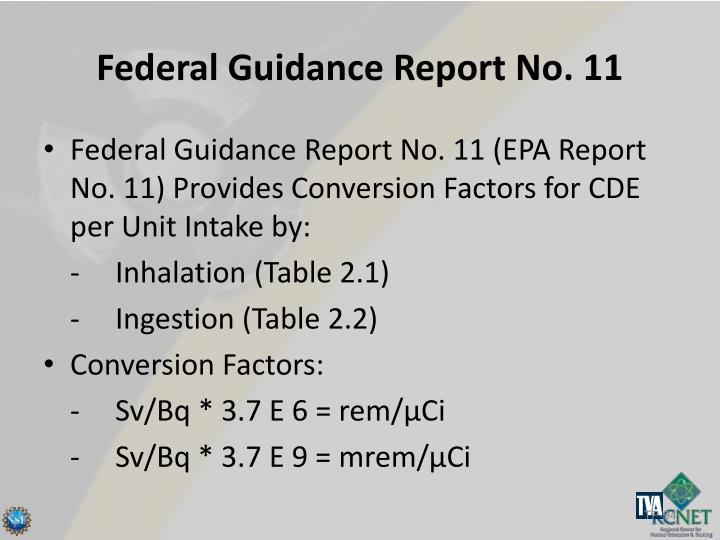 Federal Guidance Report No. 11